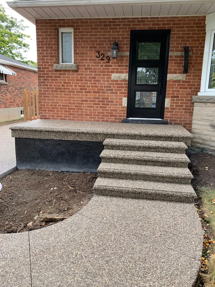 Exposed aggregate Porch & Walkways